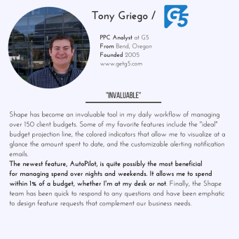 Shape Integrated Software helps Analyst tony griego of G5